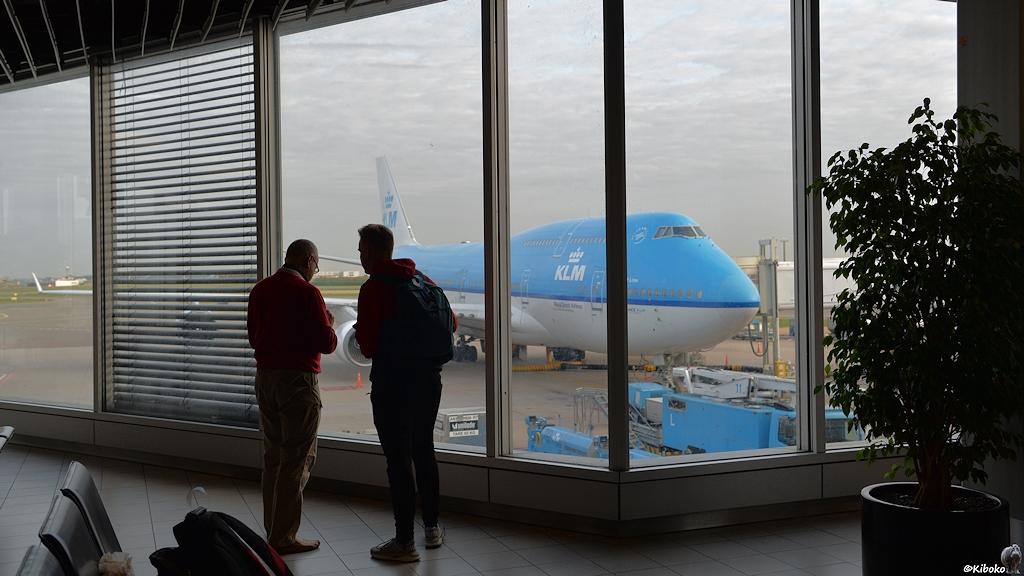 Blick auf einen Jumbo der KLM durch ein Fenster im Flughafen