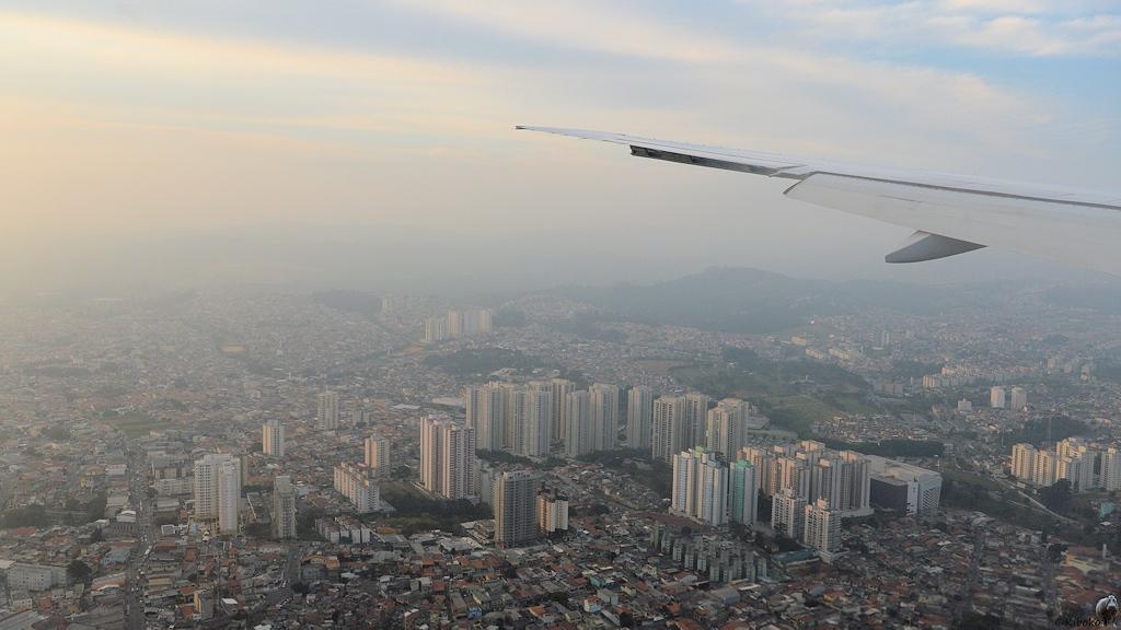 Blick aus dem Flieger auf Sao Paulo