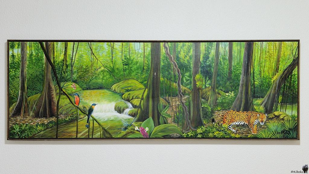 Dschungelbild mit Jaguar im Hotelzimmer